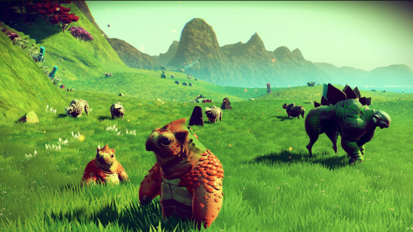 No Man's Sky - everything is this game is generated on the fly (pun intended).